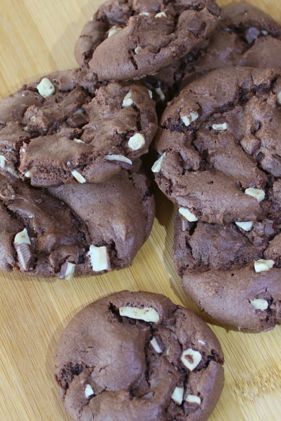Chocolate Cake Mix Cookies with Creme de Menthe chips.