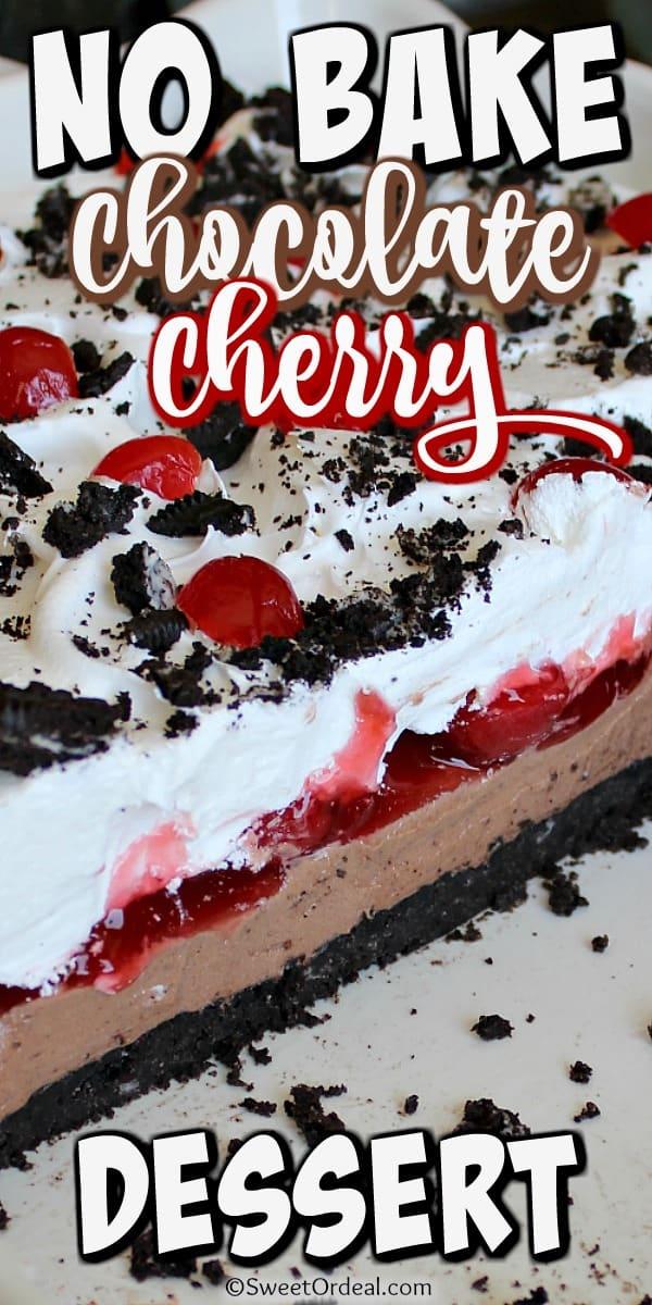 Side view of layered chocolate/cherry dessert.