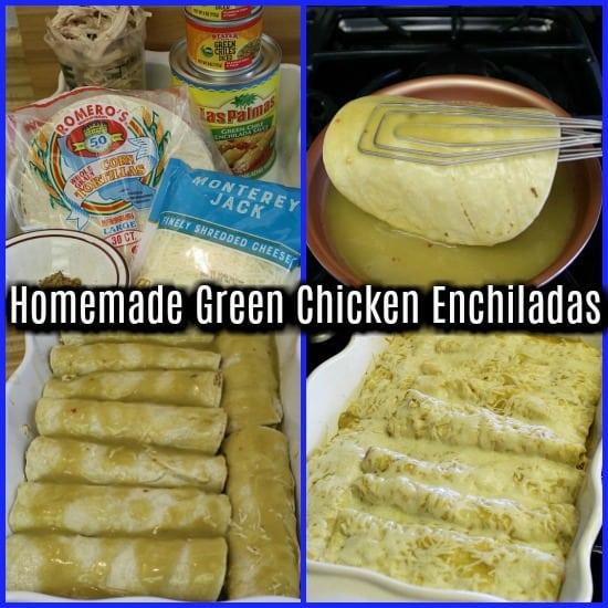 4 square showing process of making enchiladas.