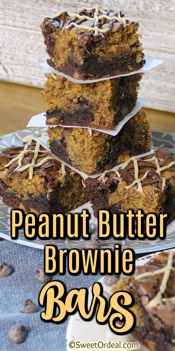 Stacked Peanut Butter Brownie Bars