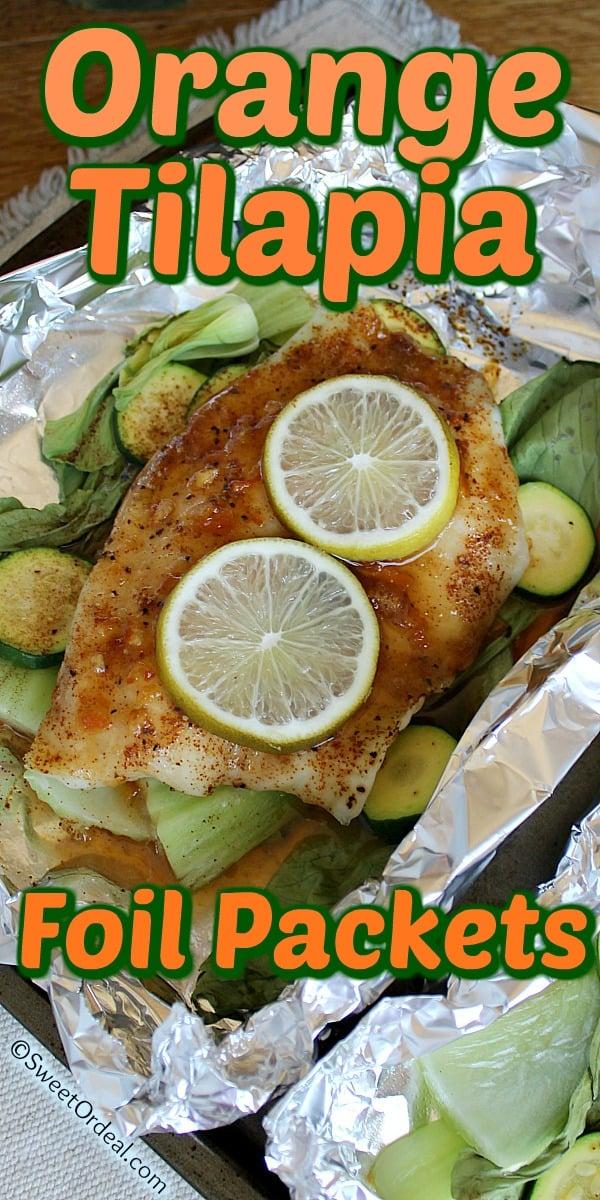 A baked tilapia fillet over steamed veggies.