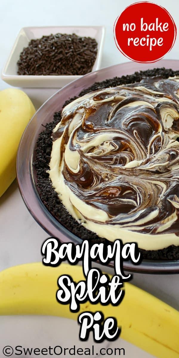Chocolate and vanilla swirls topping this pie.
