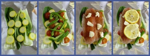 Four pictures showing layers of veggies, tilapia, then lemon slices.