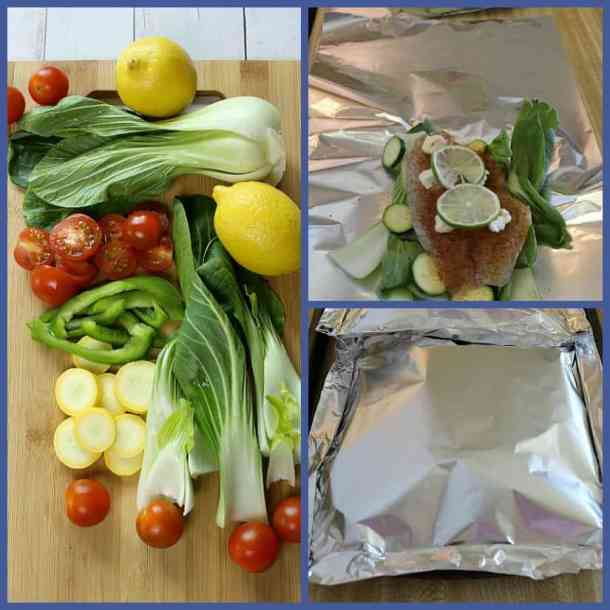 Fresh prepared veggies, and process of sealing foil packets.