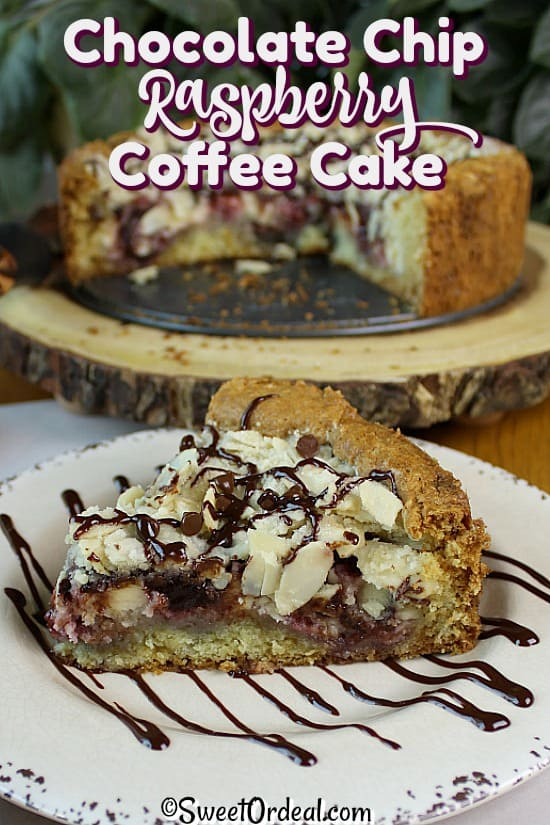 A piece of coffee cake with chocolate drizzle.