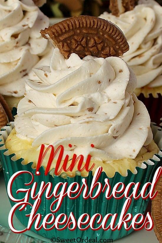 Gingerbread Oreo inspired mini cheesecake.