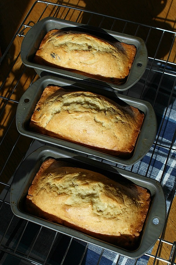 Three loaves of banana bread fresh from the oven.