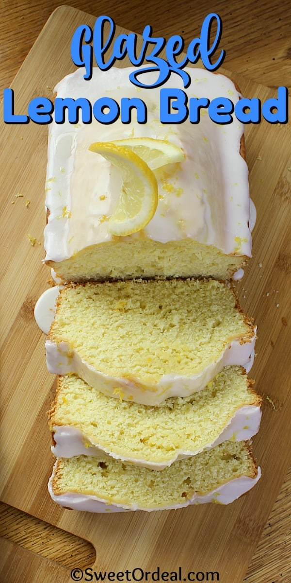 A loaf of partially sliced lemon bread.