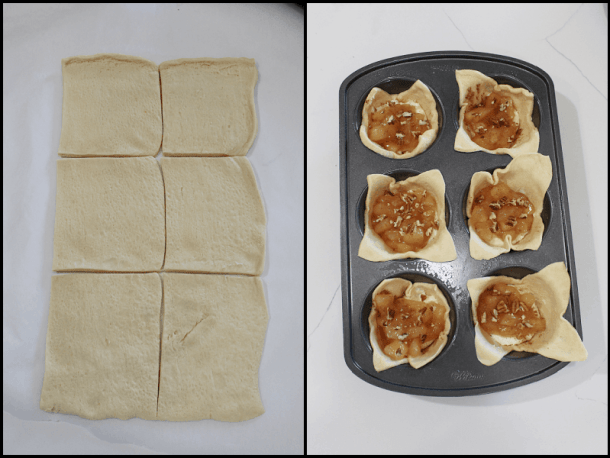 Raw dough cut into rectangles, pastry cups before baking.