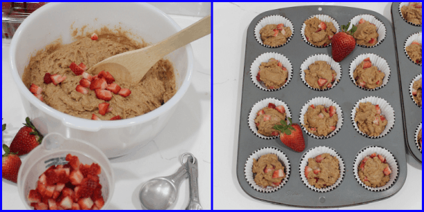 Process of making muffins, hand stirring, filling liniers.