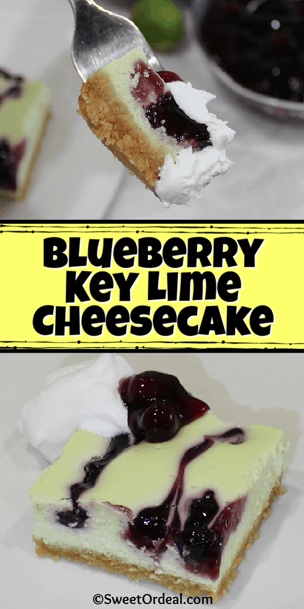 A bite and a serving of blueberries marbling a green cream cheese treat.
