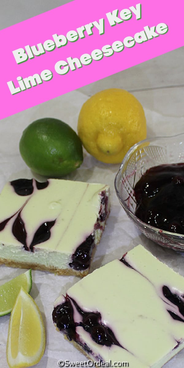 Lemon and lime, blueberry pie filling, and pieces of marbled cheesecake.