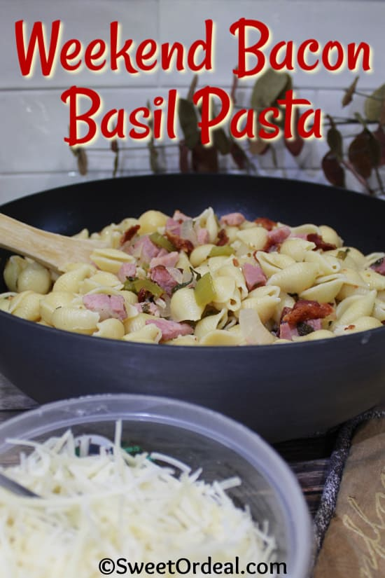 Large shell pasta with ham, green onions, and bacon.