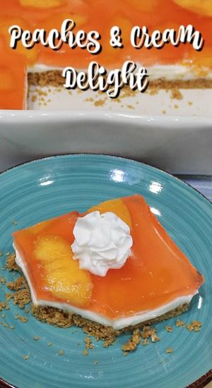 Peach slices swimming in peach gelatin over cream cheese and graham cracker crust.