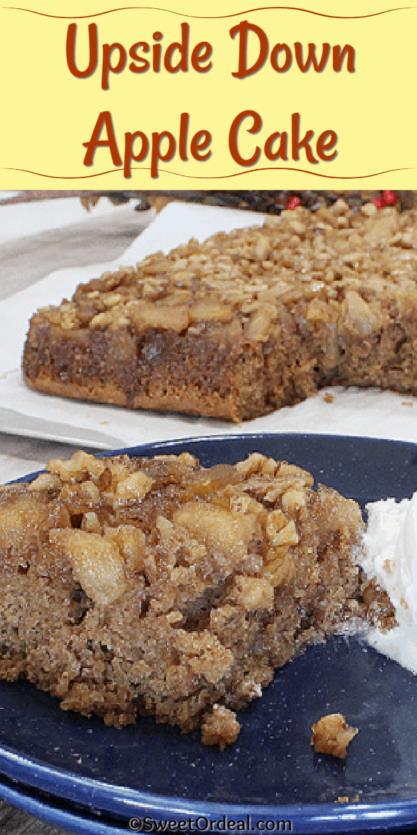 A moist cake flipped over with tender baked apples now on top.