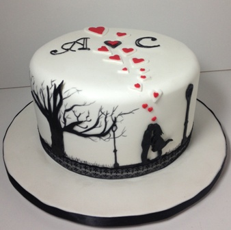 Silhouette Engagement Cake     SweetPea Designer Cakes Chocolate mud cake covered in white fondant  Silhouette of kissing couple  in park scene with floating hearts and couples initials
