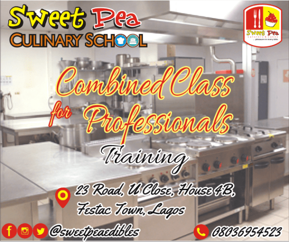 Take the full courses of our trainings to be a catering and culinary professional. • Explanatory training workbook • Classes from Cake baking, Cake designing, Sugarcraft, Small chops, Pastries, Cocktail drinks, Desserts, Special treats, Africana meals and Chinese & continental cuisine • Class project • Certification