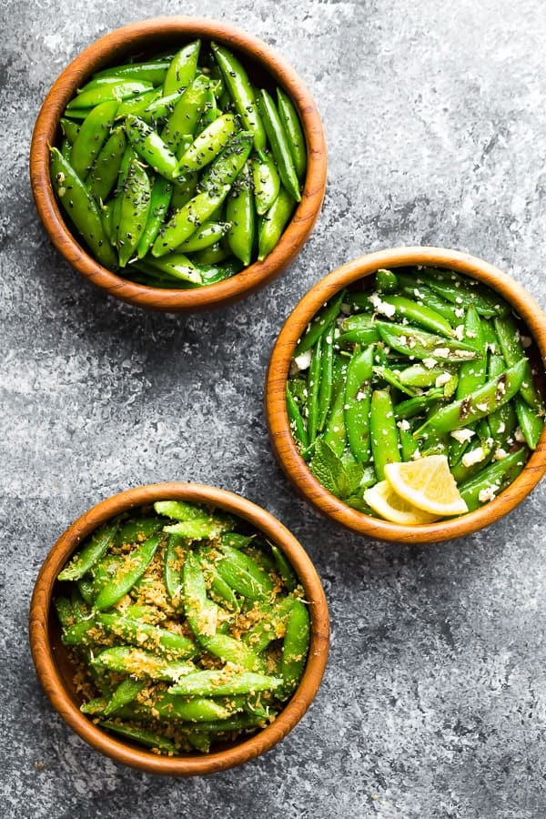 how to cook sugar snap peas- 3 bowls with different sugar snap peas recipe