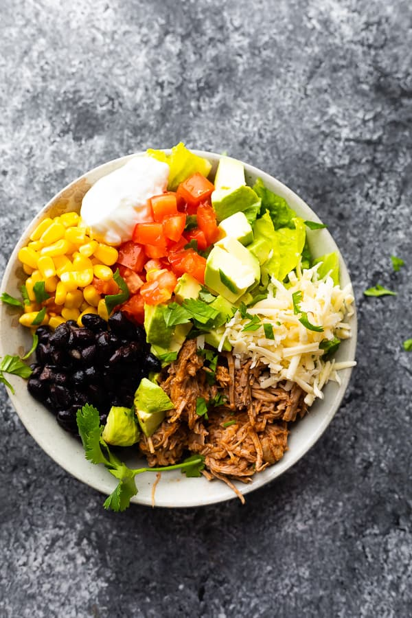 Instant Pot Pulled Pork Mexican Burrito Bowls