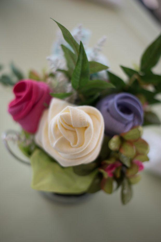 handmade onesie flower arrangement