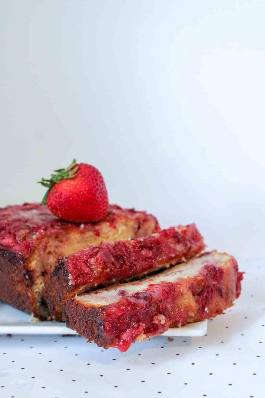 fresh strawberry pound cake on table