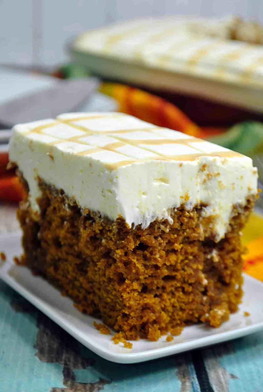 Caramel Cream Cheese Pumpkin Poke Cake Recipe