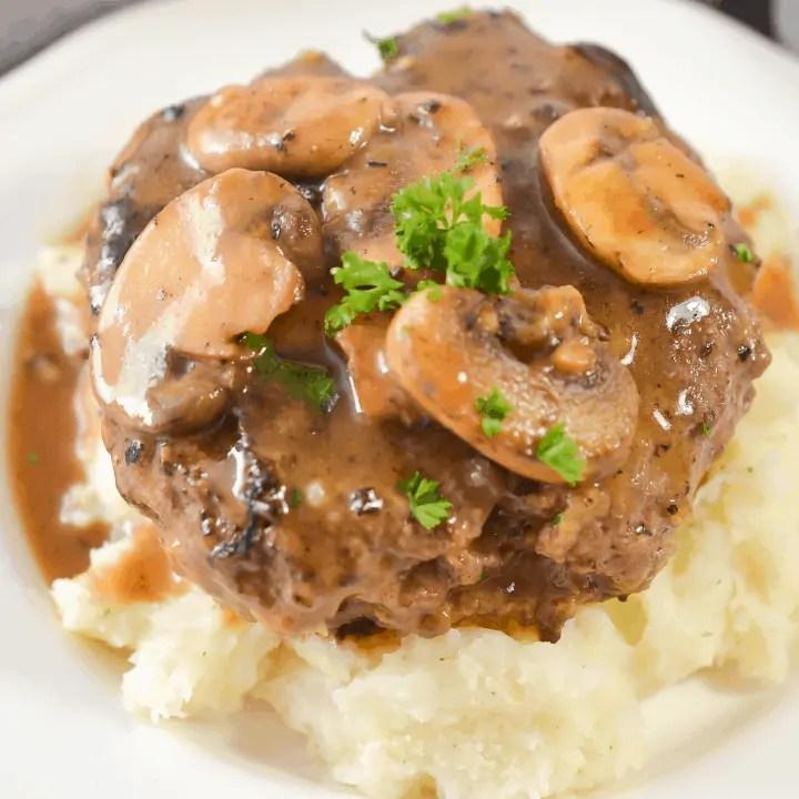 Salisbury Steak with Garlic Mashed Potatoes and Mushroom Gravy