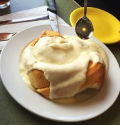 A sinfully delicious cinnamon roll from Winona's Restaurant in Steamboat Springs, Colorado.