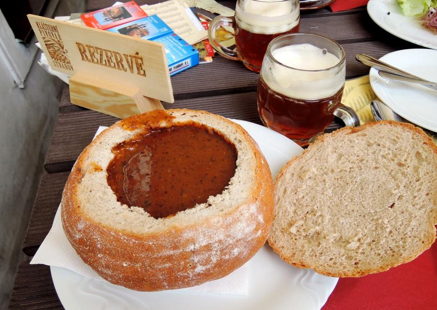 Goulash bread bowl