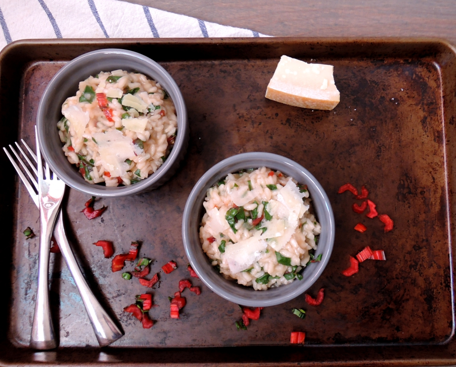 red chard risotto for two