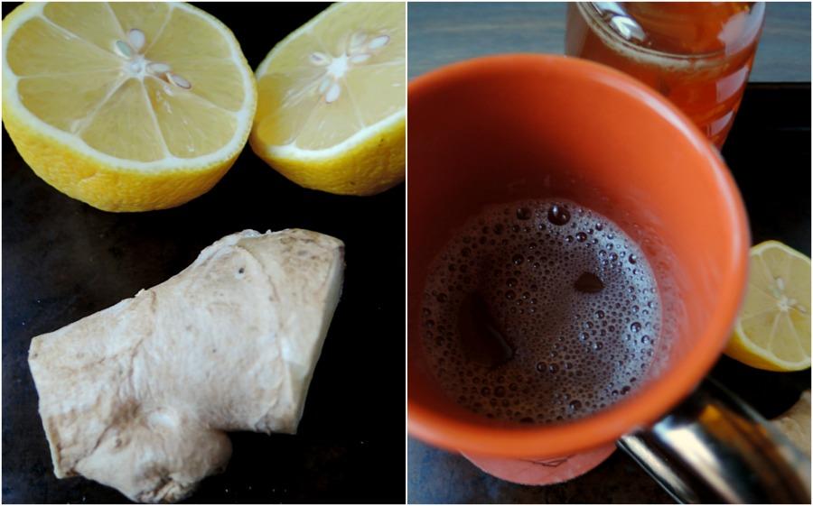ginger lemon tea remedy.collage