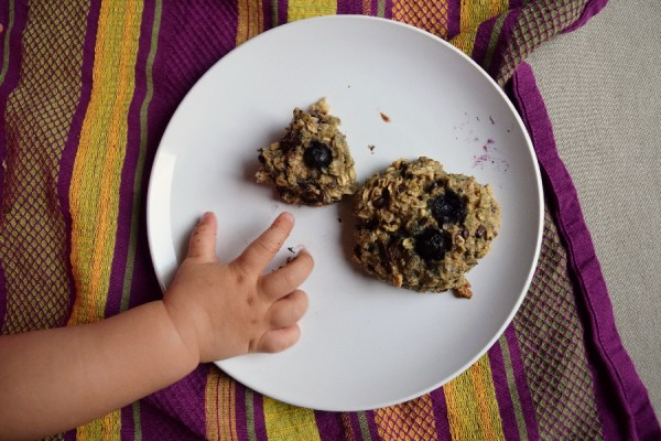 Blueberry breakfast cookies with dark chocolate