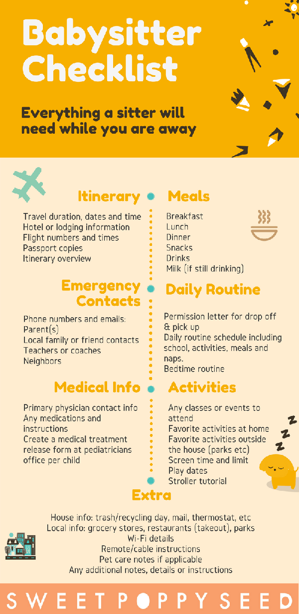 babysitter travel checklist