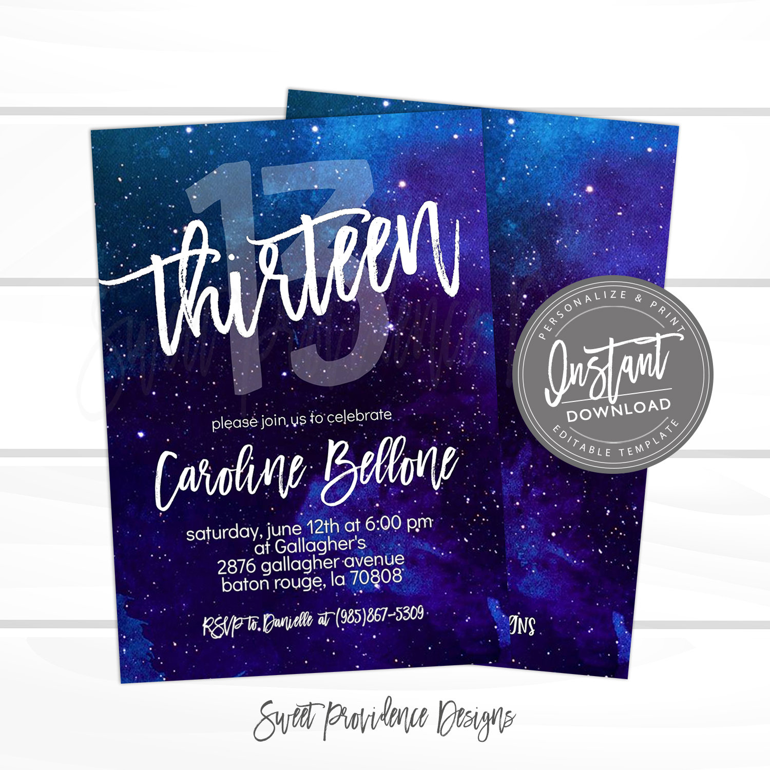 13th birthday invitation editable any age birthday invite template thirteen galaxy surprise printable instant access