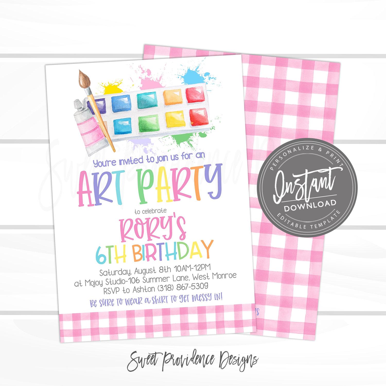 art party birthday invitation art party invitation virtual paint party birthday invite editable girl birthday invitation instant access