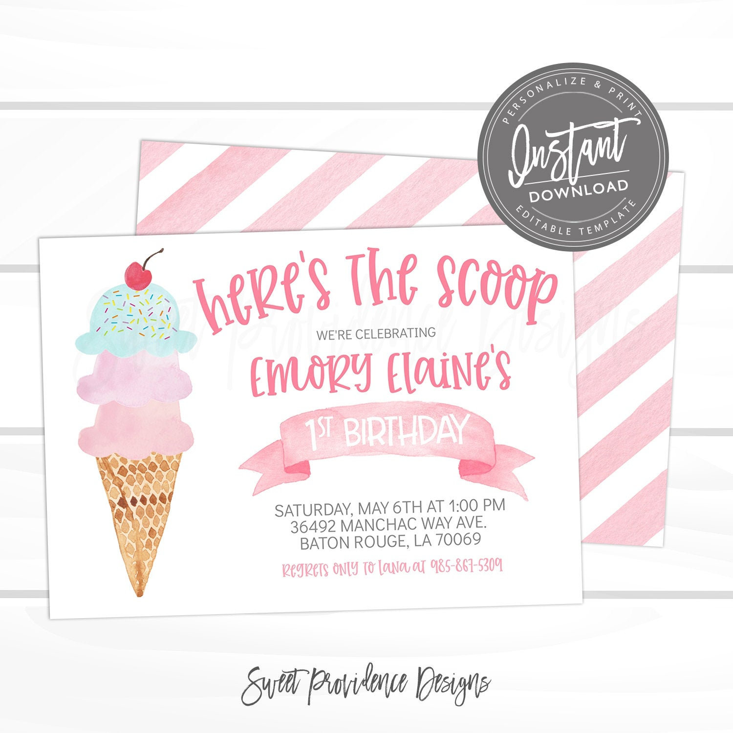 ice cream birthday party invitation first birthday pink ice cream social invite editable virtual birthday invite template instant access