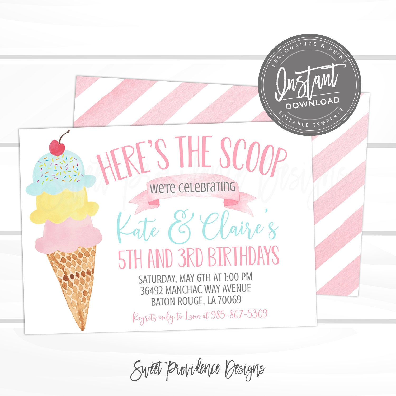 ice cream sibling birthday party invitation joint birthday pink ice cream social invite editable birthday template instant access