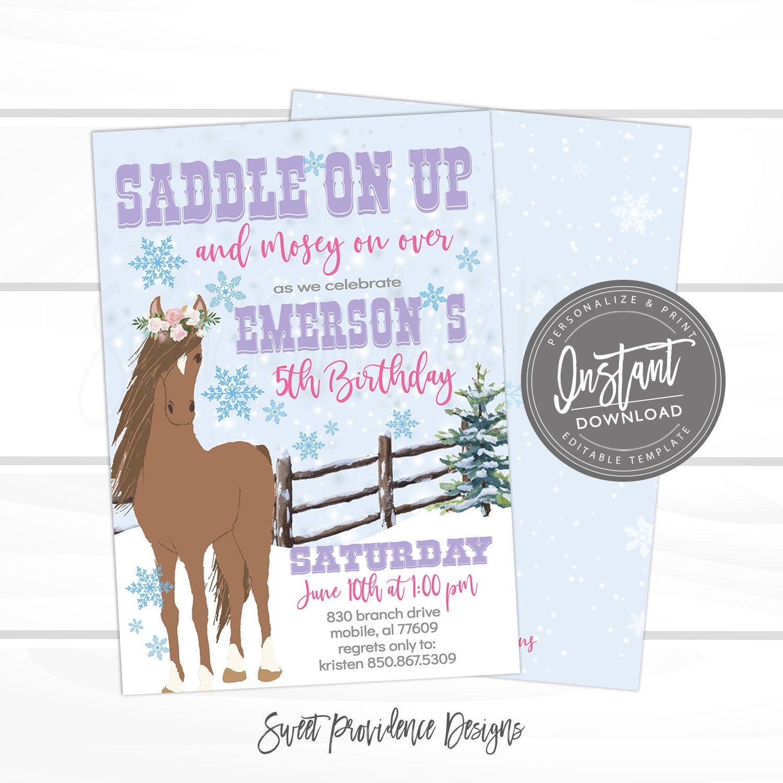 winter horse birthday invitation cowgirl birthday invitation editable birthday template country girl invite instant access