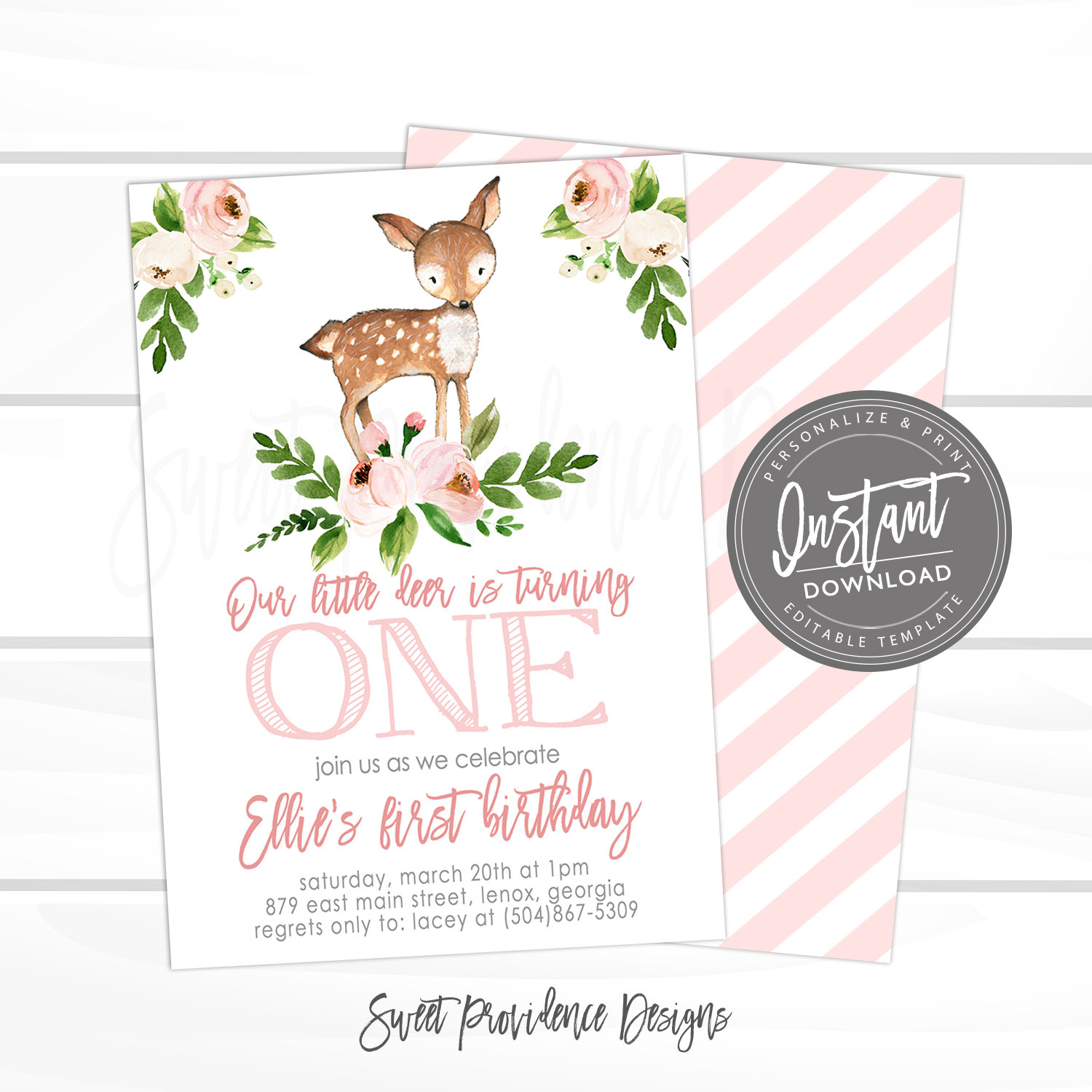 our little deer first birthday woodland deer birthday invitation pink floral woodland invite editable template instant access edit now