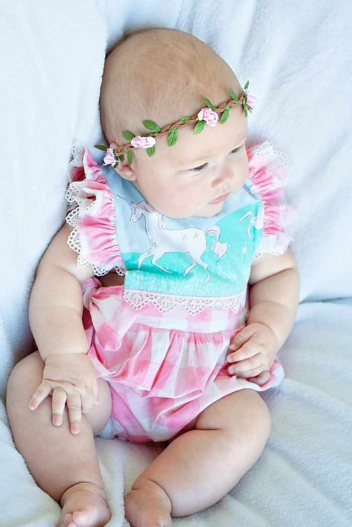 M4M Hampton Baby Romper PDF Sewing Pattern in Sarah Jane Magic Fabric from Michael Miller Fabrics