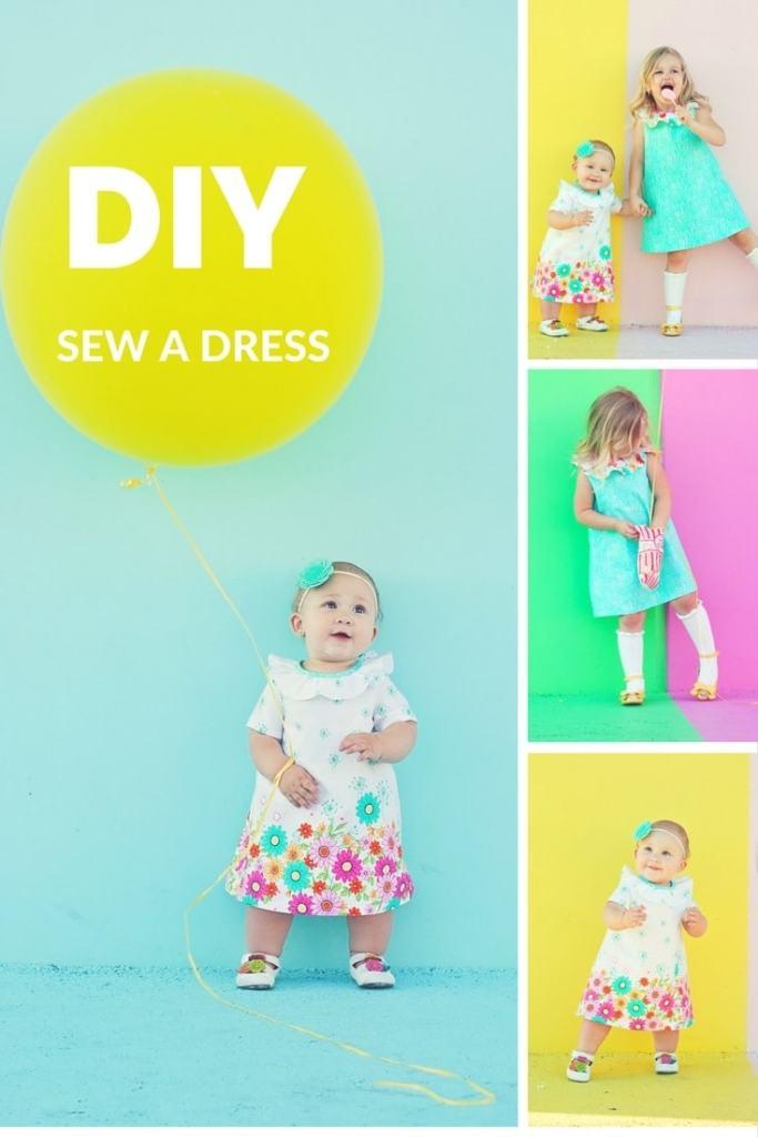 DIY Dress Sewing Pattern Kneesocks and Goldilocks Sew Pony Juliette Dress Michael Miller Fabrics Doodle Daisy