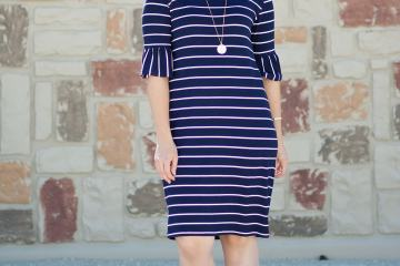 Panama Tee Dress Sewing Pattern Blue and White Striped Knit Dress