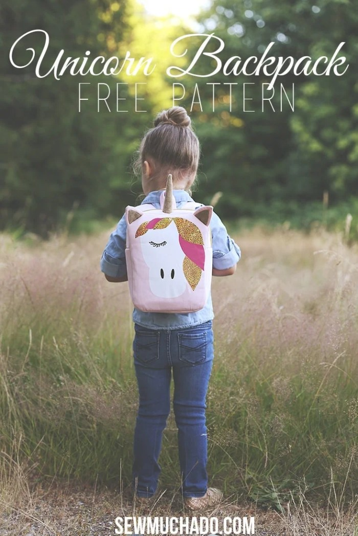 Sew Much Ado Glitter Iron-On HTV Unicorn Backpack Free DIY tutorial