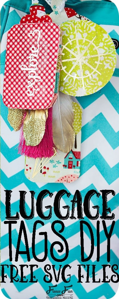 DIY Luggage Tags Iron-On HTV free cut files