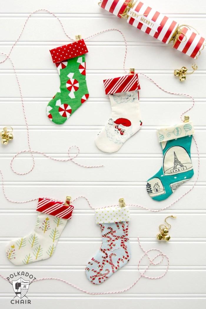 Polka Dot Chair Christmas Stocking Garland Tutorial