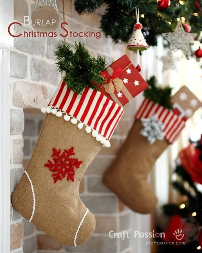 Craft Passion Burlap Christmas Stocking with Pom Pom Trim Sewing Tutorial