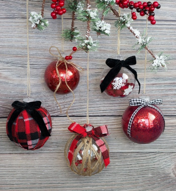 decorate clear plastic christmas ornaments diy tutorial with glitter fabric twine felt and