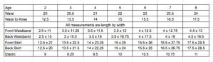 Flat Front Skirt Measurement Chart