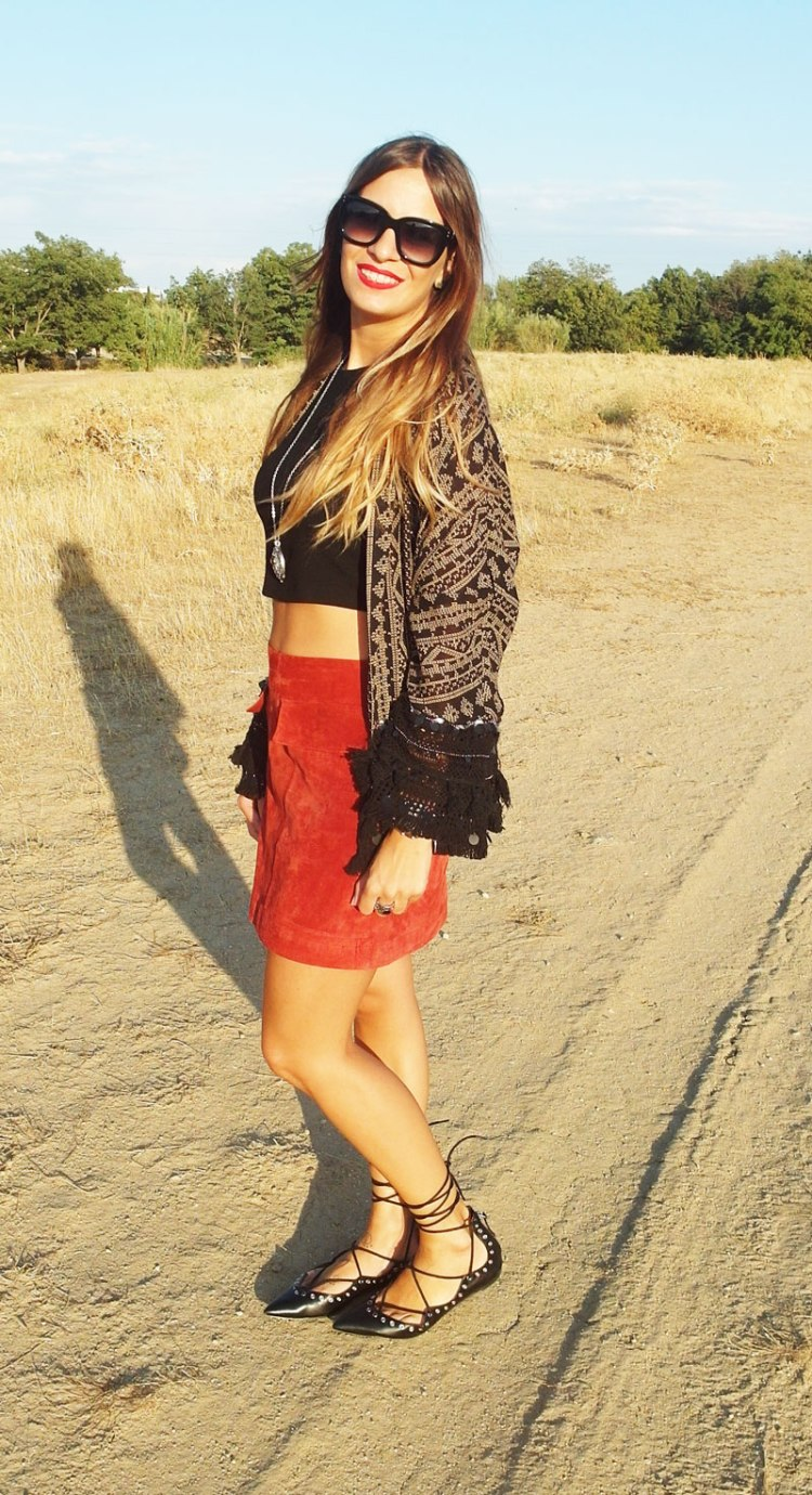 SweeTrendy falda rojo teja