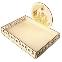 Rustic Wooden Tray Golden Mosque